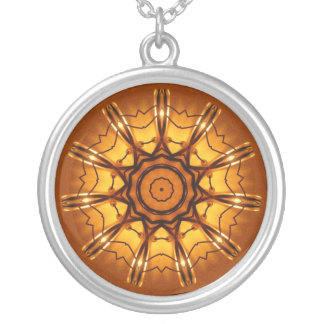 Orange and yellow abstract design round pendant necklace