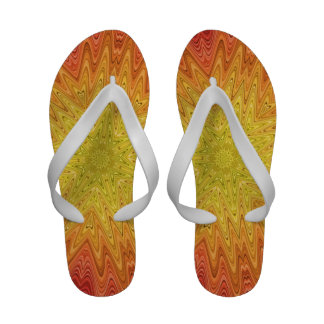 Orange and Yellow Abstract Sun and Star Flip Flops