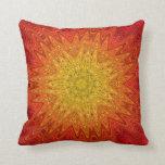 Orange and Yellow Abstract Sun Mandala Pillows