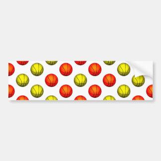 Orange and Yellow Basketball Pattern Bumper Sticker