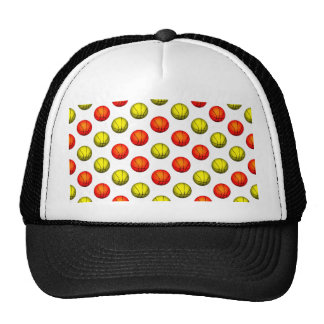 Orange and Yellow Basketball Pattern Trucker Hats