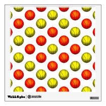 Orange and Yellow Basketball Pattern Wall Sticker