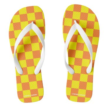 Beach Themed orange and yellow checkered flip flops