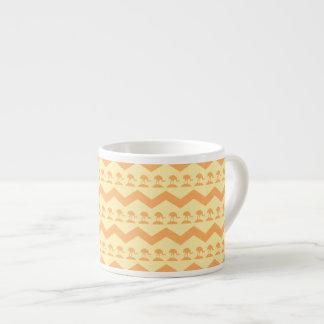 Orange and Yellow Chevron and Birds Pattern Espresso Cup