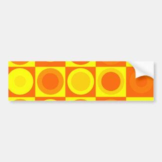 Orange and Yellow Circle Square Pattern Gifts Bumper Sticker