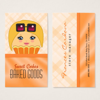 Orange and Yellow Cupcake Character Baker Bakery Business Card