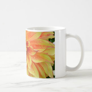 Orange and yellow dahlia flower coffee mug