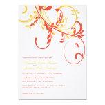 "Orange and Yellow Double Floral Wedding Invitation 5"" X 7"" Invitation Card"