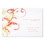 Orange and Yellow Double Floral Wedding RSVP 3.5x5 Paper Invitation Card