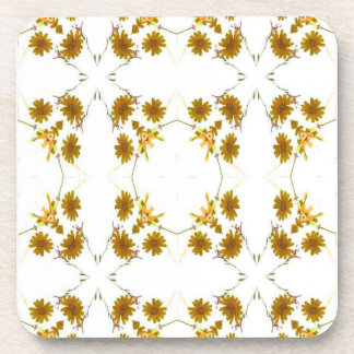 orange and yellow fall colored wildflowers 16 up drink coaster