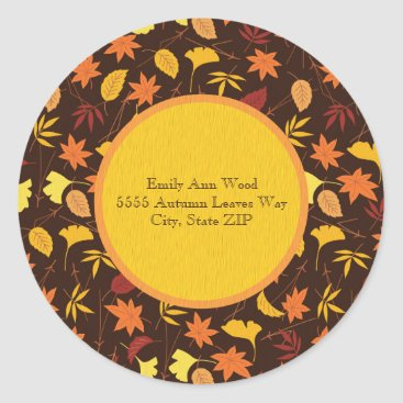 Halloween Themed Orange and Yellow Fall Leaves Address Sticker