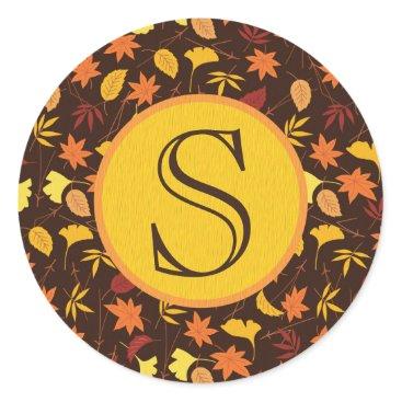 Halloween Themed Orange and Yellow Fall Leaves Monogram Sticker