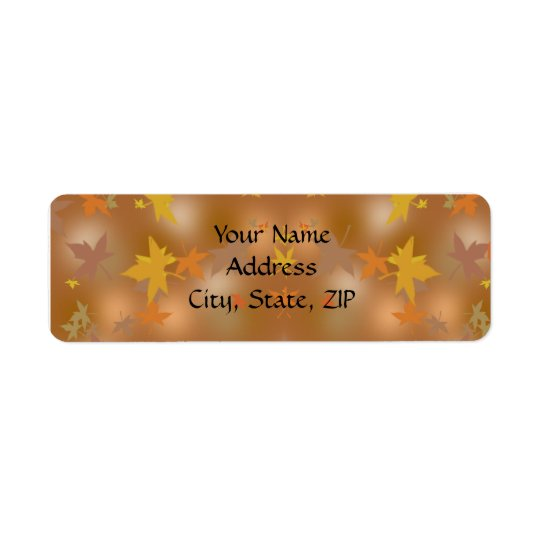 Orange and Yellow Fall Leaves on Taupe Label