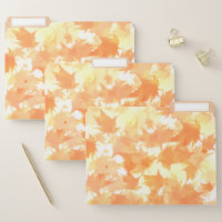 Orange and Yellow Falling Autumn Leaves Pattern File Folder