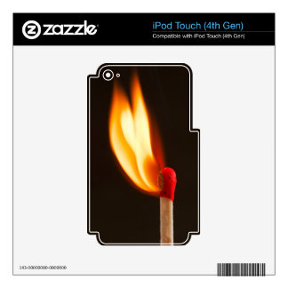 Orange and yellow fire flame iPod touch 4G decal