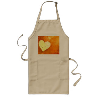 Orange and Yellow Floating Hearts Long Apron