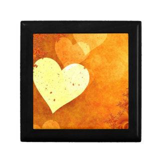 Orange and Yellow Floating Hearts Keepsake Boxes