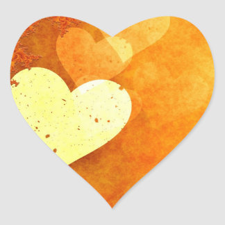 Orange and Yellow Floating Hearts Heart Sticker