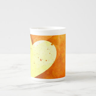 Orange and Yellow Floating Hearts Tea Cup