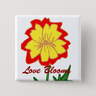 Orange and yellow flower, Love Blooms button