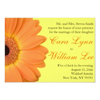 "Orange and Yellow Gerber Daisy Wedding Invitations 5"" X 7"" Invitation Card"