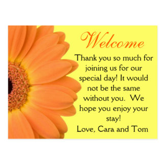 Orange and Yellow Gerber Daisy Wedding Welcome Bag Postcard