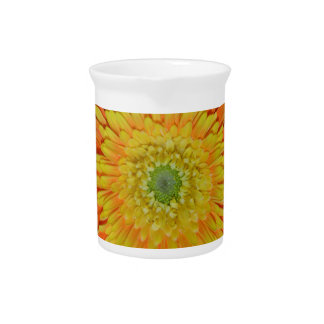 Orange and yellow gerber flower beverage pitcher