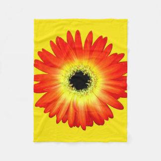 Orange and Yellow Gerbera Daisy Fleece Blanket