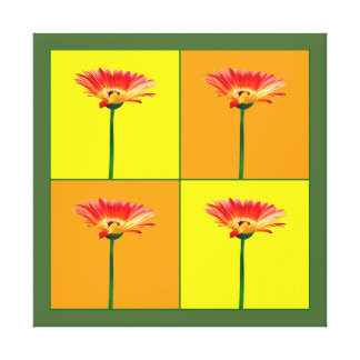 Orange and Yellow Gerbera Daisy Mosaic Stretched Canvas Prints