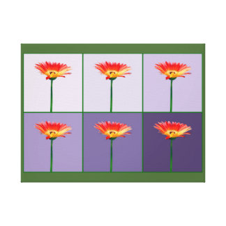 Orange and Yellow Gerbera Daisy Mosaic Canvas Print