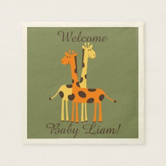 Orange and Yellow Giraffe Baby Shower Napkins
