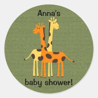 Orange and Yellow Giraffes on Green Sticker