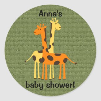 Orange and Yellow Giraffes on Green Sticker