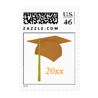 Orange and Yellow Graduation Stamps Cap and Tassel
