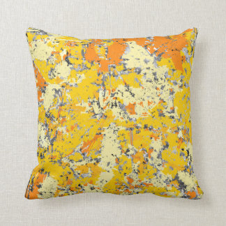 Orange and Yellow Grunge Throw Pillow