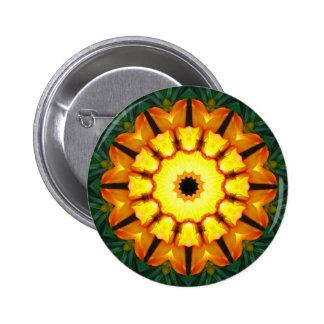 Orange and Yellow Iris, Floral mandala-style Pinback Button