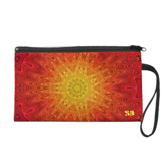 Orange and Yellow Kaleidoscope Sun Star Wristlets