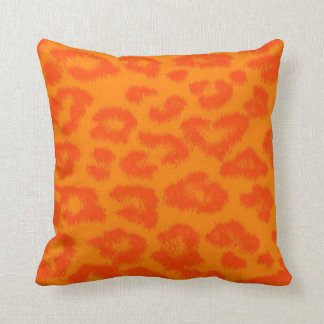 Orange and Yellow Leopard Print Fur Throw Pillow