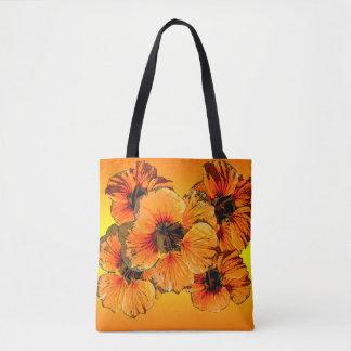 Orange and yellow nasturtiums tote bag