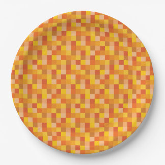 Orange and Yellow Pixelated Pattern Paper Plate