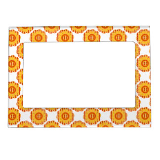 Orange And Yellow Plaid Floral Picture Frame