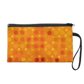 Orange and Yellow Polka Dots Wristlet Purse
