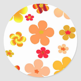 Orange and Yellow Pop Art Flowers Classic Round Sticker
