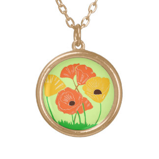Orange and Yellow Poppies Necklace
