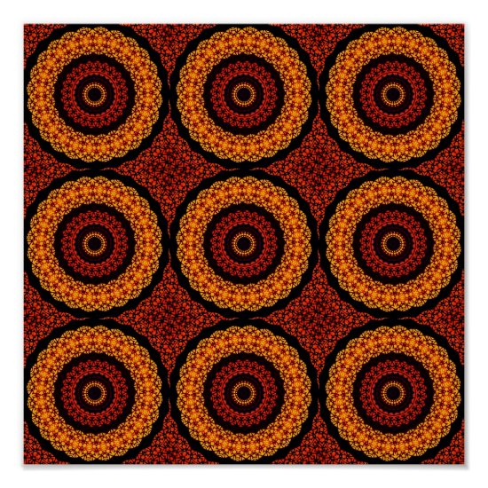 Orange and Yellow Retro Mandala Poster