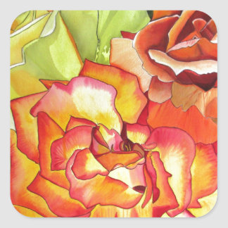 Orange and Yellow roses watercolor art Square Sticker