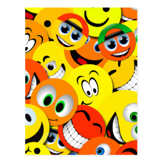 ORANGE AND YELLOW SMILEY FACES COLLAGE POSTCARD