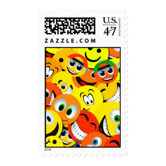 ORANGE AND YELLOW SMILEY FACES COLLAGE STAMP