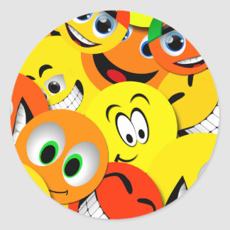 ORANGE AND YELLOW SMILEY FACES COLLAGE STICKERS