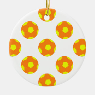 Orange and Yellow Soccer Ball Pattern Double-Sided Ceramic Round Christmas Ornament